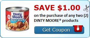 New Coupon!  Save $1.00 on the purchase of any two (2) DINTY MOORE® products - http://www.stacyssavings.com/new-coupon-save-1-00-on-the-purchase-of-any-two-2-dinty-moore-products/