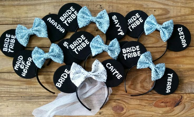Custom bachelorette party disney mouse ears bride tribe MouseMadeMonograms.etsy.com
