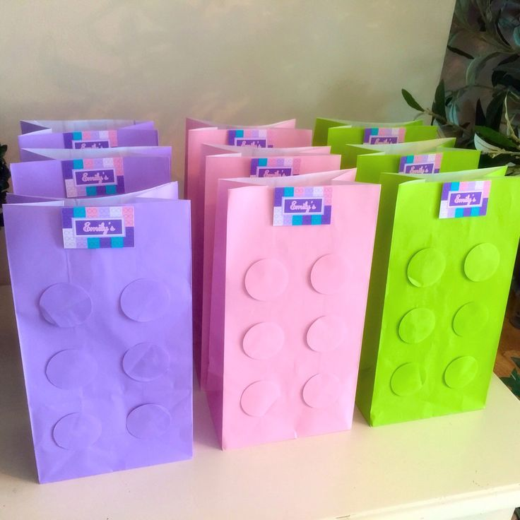 Lego Friends Birthday Party Favour Loot Paper Bag x6 (lilac, pink and green) by mycupofteaparties on Etsy https://www.etsy.com/listing/248331917/lego-friends-birthday-party-favour-loot