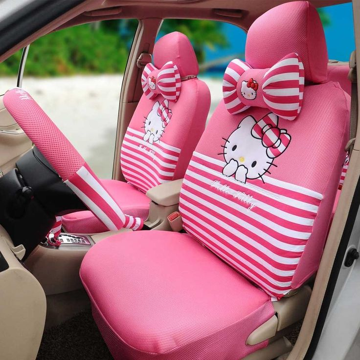 1 Set Hello Kitty Peach Universal Breathable Car Seat Cover Steering Wheel