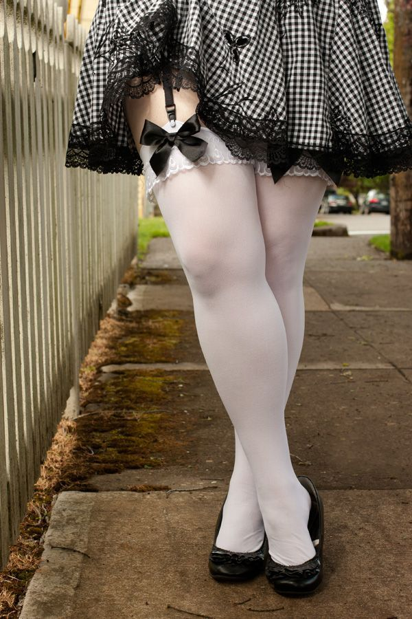 Opaque Stockings with Ruffle and Bow