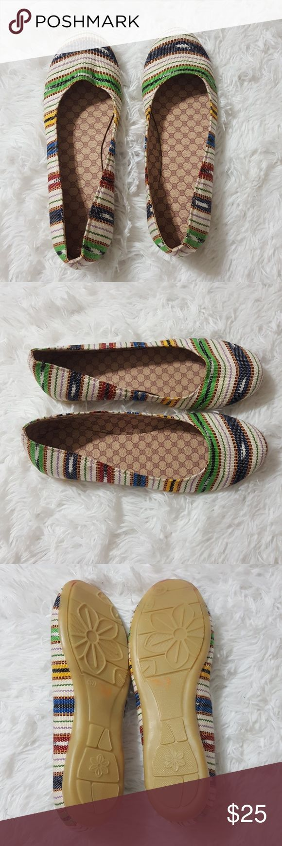 Cute Aztec Boho Stripe Ballet Flats Brand: Unbranded Color: Multi Size (Women's): 37(Sz 7) Style: Round Toe Ballet Flat Condition: NWOB Pattern: Stripe Aztec Flats have never been worn. On sole of shoe there are paint stains from manufacturer pic#5, overall shoe is in nwob condition.   Buyers can expect: Careful packaging, Fast shipping, & Delivery confirmation with each item purchased! PET FREE HOME & SMOKE-FREE HOME. Please note: Due to lighting and monitors, the items colours may be…