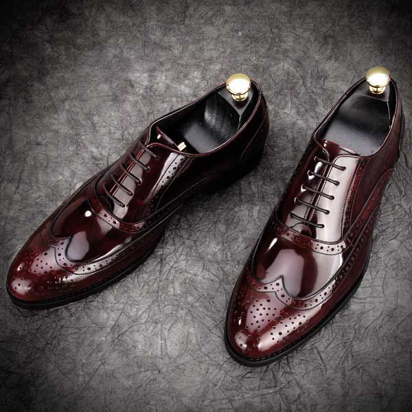 Leather Brogues Fashionable Formal Mens Grooms Shoes Wine Red