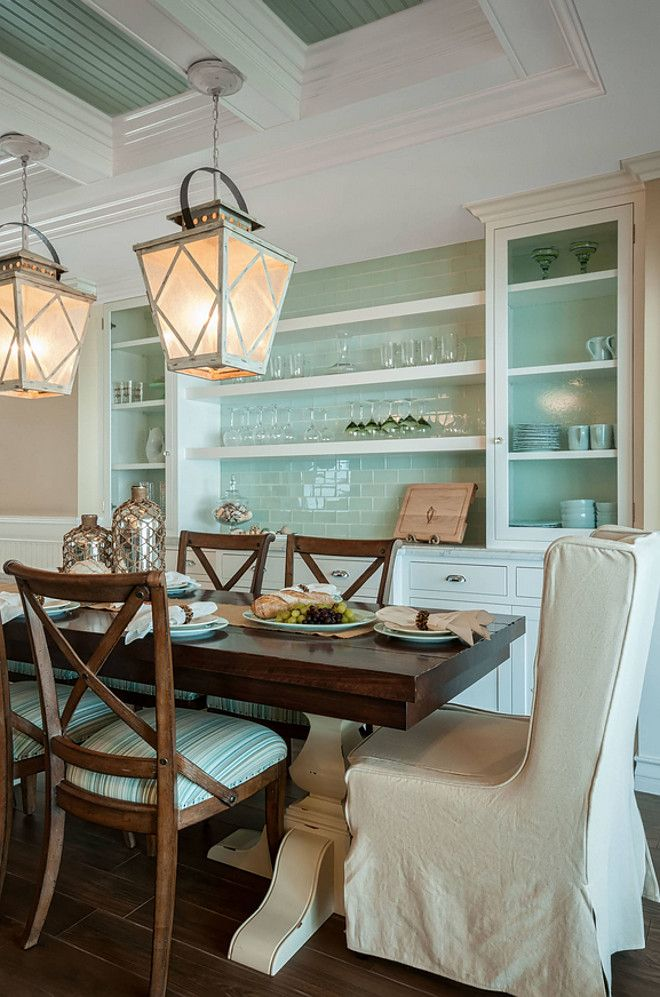 This Dining Room Features A Built In Buffet For Storage The Paint