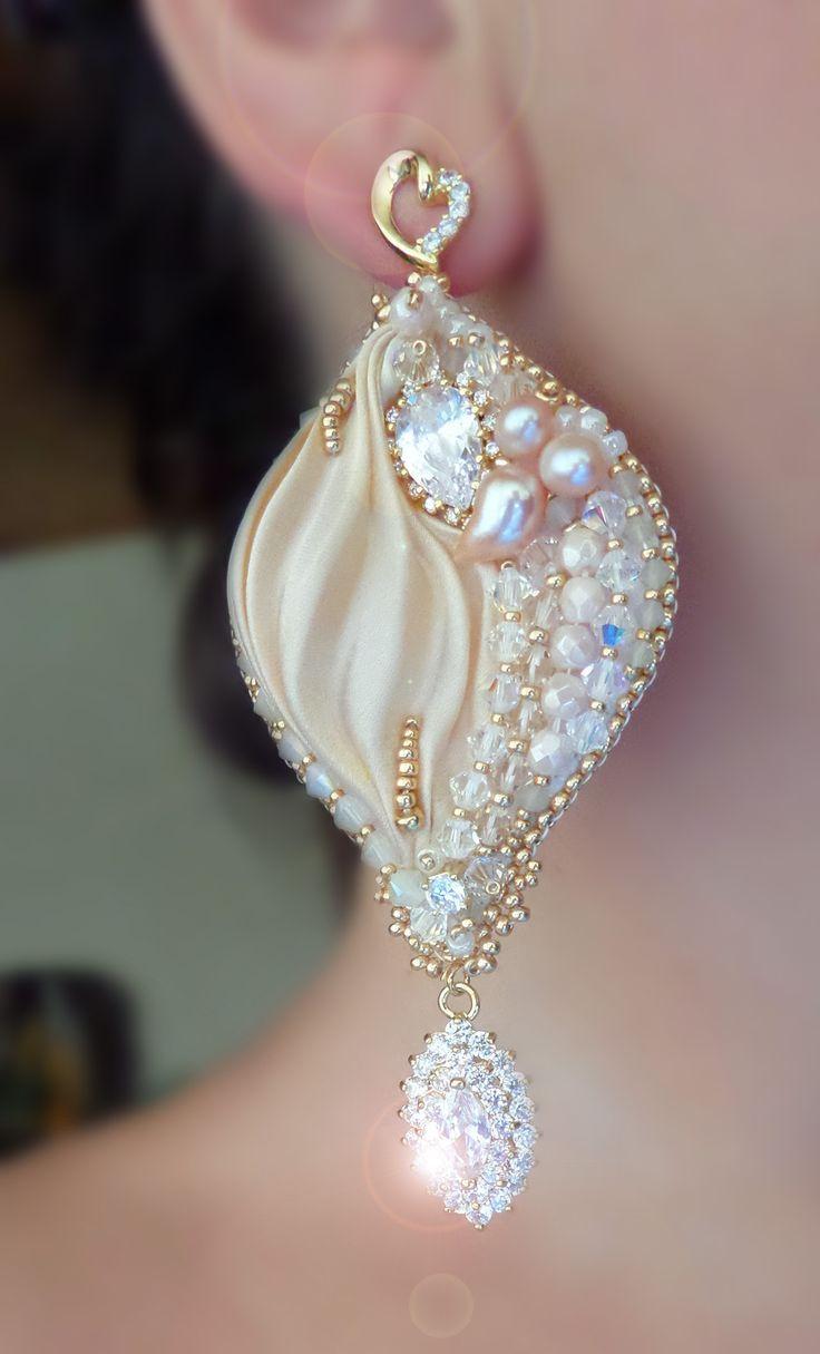 """Silk Leaf Earrings"" design by Serena Di Mercione --- bead embroidery shibori silk ribbon:"
