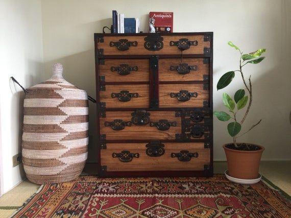 Japanese Clothing Chest Interior Japan Cabinet 1800s Tansu Furniture Meubles Japonais Habillement Japonais Et Bois