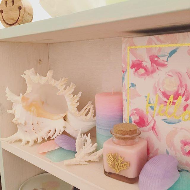 【rila_shellholic】さんのInstagramをピンしています。 《・ ・ 通販で見つけたテング貝が思いの外でか過ぎて ずっと飾る場所に悩んでたけど 飾ってしまえば可愛いかも🐚 ・ ・ #キャンドル #ポーセラーツ #シェル #貝 #珊瑚 #海 #ワックスバー #パステル #グラデーション #ネオン #海を感じるインテリア》