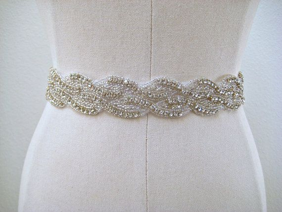 bridal beaded sparkly wedding sash belt wave