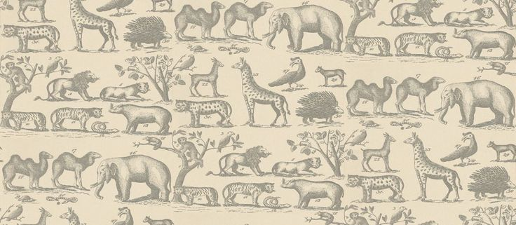 Ark (ARK1-PARCHMENT) - Andrew Martin Wallpapers - A vintage look wallpaper with animals from the jungle such as lions, snakes and elephants. Shown here in parchment with grey/ black detailing. Other colourways are available. Please request a sample for a true colour match. Paste the wall product.