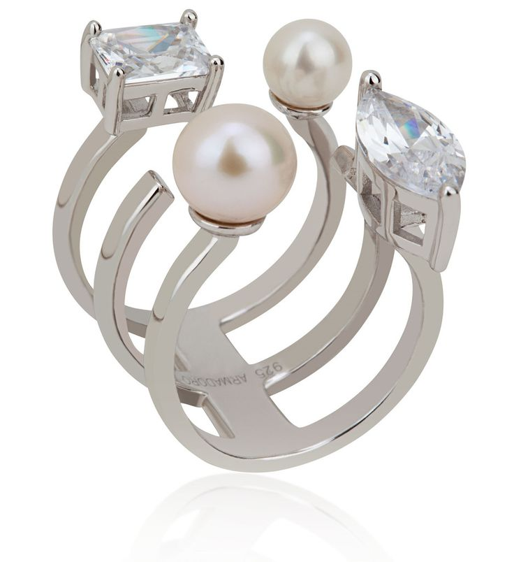 Arya Collection 3 rows white pearl925 sterling silver ring
