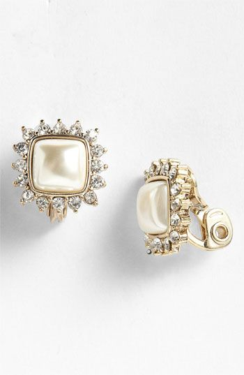 Anne Klein Socialite Square Button Clip Earrings Nordstrom