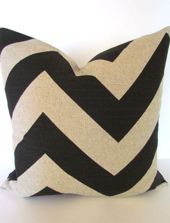CHEVRON PILLOW 20x20 Tan Decorative Throw Pillow Covers BLACK Ikat Throw pillows Modern Fabric ...