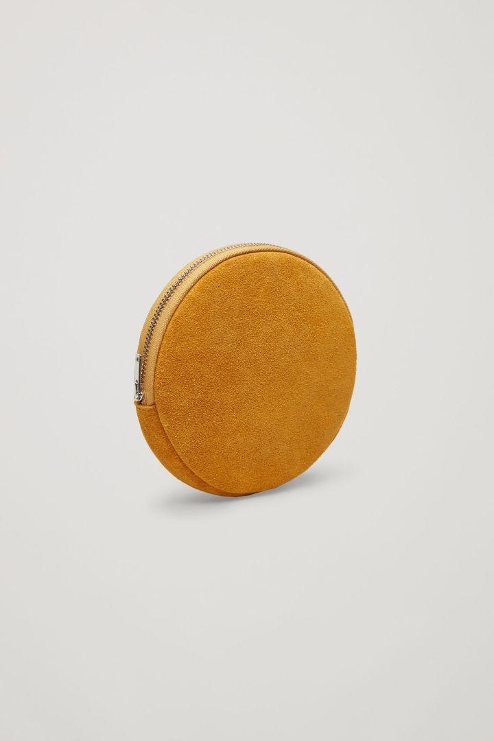 COS image 2 of Round suede purse in Egg Yolk