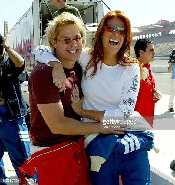 Angie Everhart and Kato Kaelin during Model Angie Everhart at press day prior to Indy Racing League at the Weekend September 18 2003 at California...