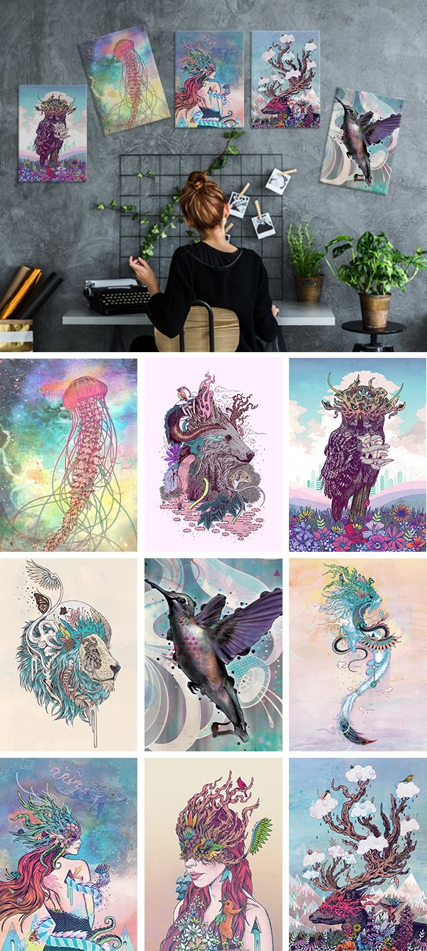 """""""Nature's Spirits"""" collection of prints on metal by Mat Miller. Give your interior good energy with these unique metal posters printed on thick steel. Click through to see more similar artworks! #animal"""