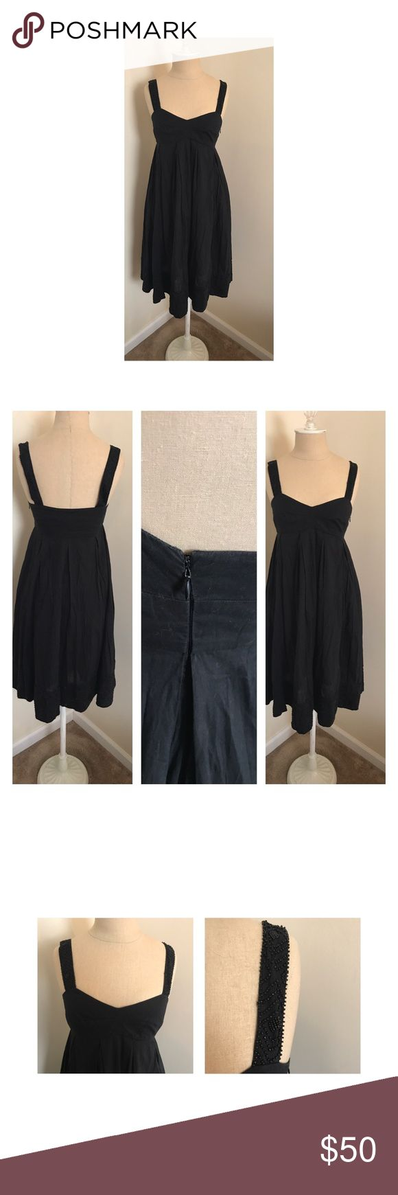"⭐️New listing⭐️ French Connection dress 2 Lovely lightly worn black French Connection dress with beading at straps and hem. Two layers of skirt for volume. 100% cotton. Side zip. Underarm to underarm 15"", top of bust to hem 33"". French Connection Dresses"