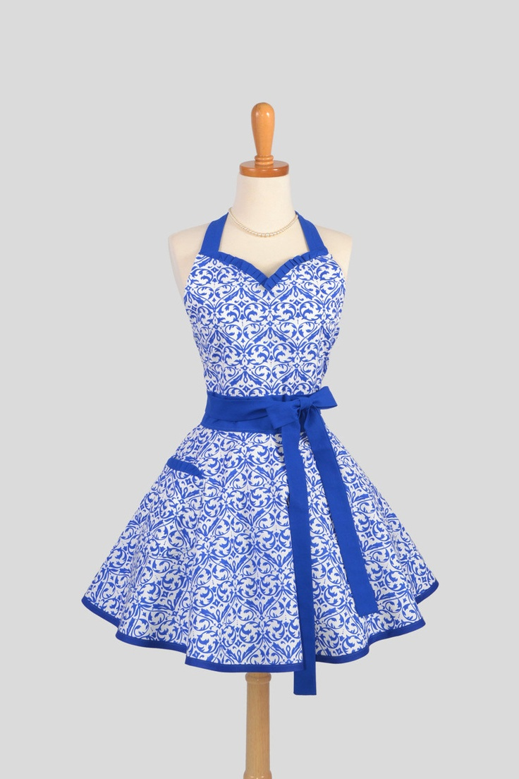 White aprons for sale - Summer Sizzlin Sale Sweetheart Retro Apron Sexy Womens Apron Blue And White Swirl Design Handmade Cute Full Kitchen Apron