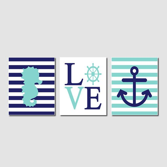 Nautical Aqua Navy Nursery Wall Art Seahorse by LovelyFaceDesigns