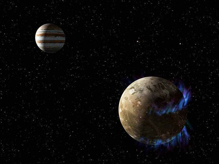 500 million miles from the Sun liesGanymede moon, slightly larger than the planet Mercury, orbiting Jupiter and may contain more water than all of Earth's oceans.Above an artist's concept of the moon Ganymede as it orbits the giant planet