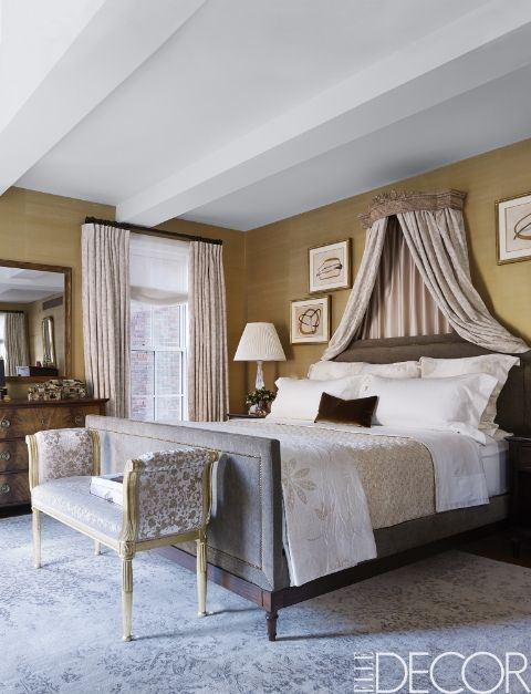 A Bedroom Is Styled Beautifully In A New York City Apartment, The Custom  Bed Is