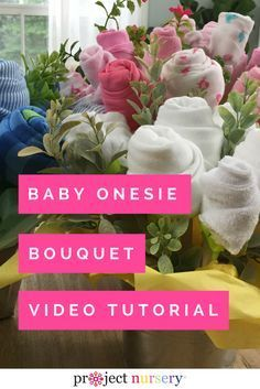 DIY Baby Onesie and Washcloth Flower Bouquet - we love this as a great alternative to the diaper cake! {Content sponsored by Arm + Hammer} #ad  www.TopsyTurvyDiaperCakes.com * diaper cakes for baby shower & washcloth favors