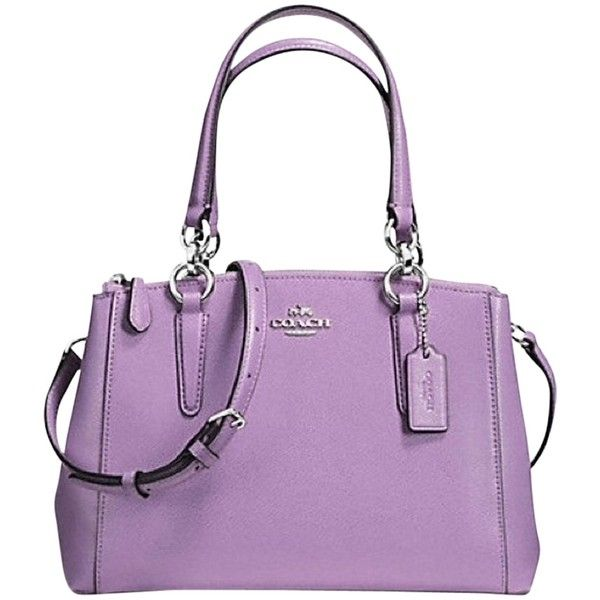 Pre-owned Coach Mini Christie F36704 In Color For The Spring/summer... ($200) ❤ liked on Polyvore featuring bags, handbags, shoulder bags, lilac, purple leather purse, cell phone crossbody, leather crossbody handbags, coach purses and crossbody purse