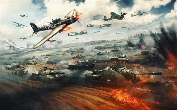 Scarica sfondi War Thunder, 2017, giochi online, simulazione di guerra, carri armati, aerei da guerra