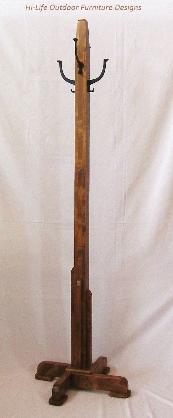 Coat Tree, Handmade Alder Wood, 4 Cast Iron Hook, Hat ...