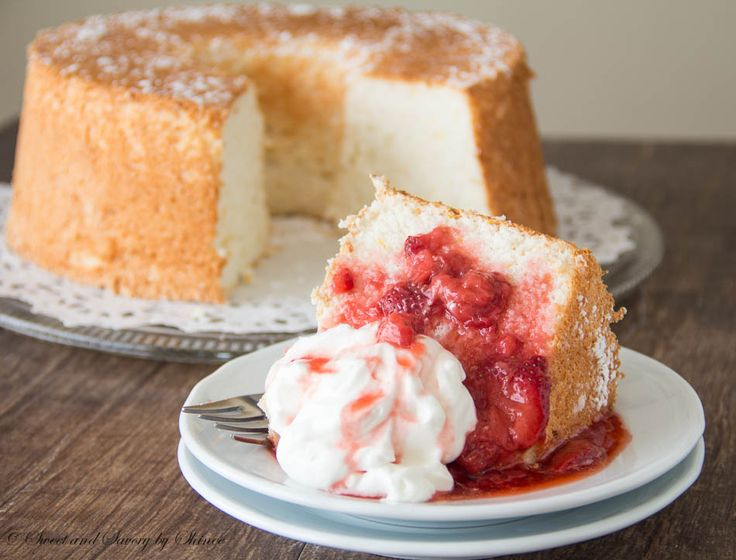 Angel Food Cake with Strawberry Sauce ~Sweet and Savory by Shinee