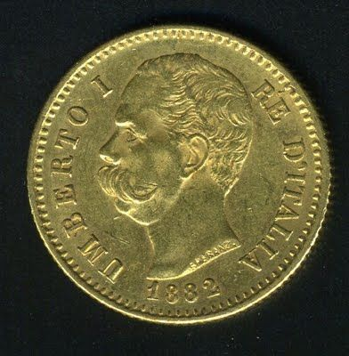 Italian Gold Coins - 20 Lire Gold Coin of 1882.