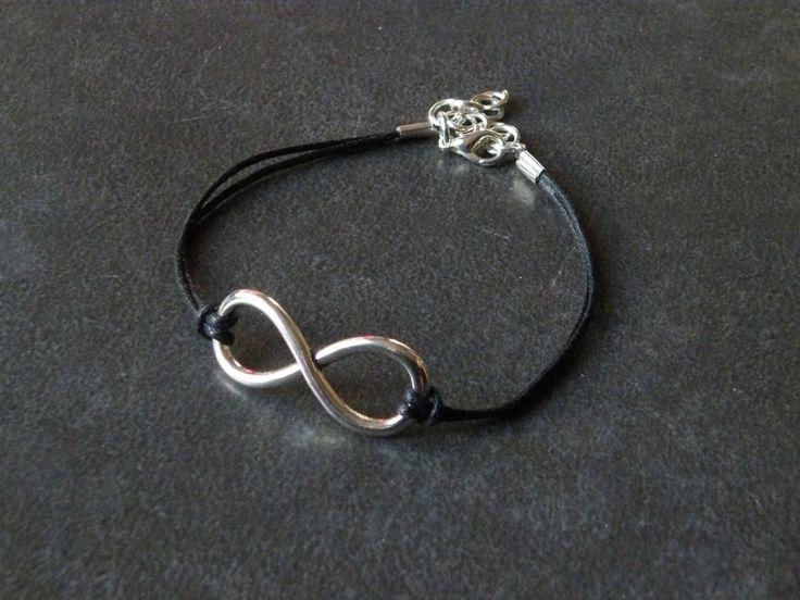 Bracelet argenté infini cordon noir : Bracelet par jl-bijoux-creation