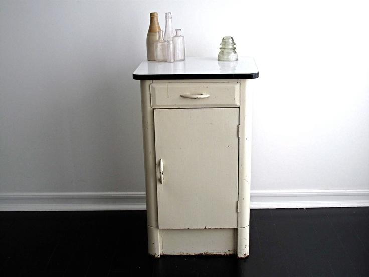 Vintage Enamel Top Kitchen Cabinet