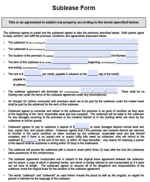 Printable Sample Sublease Agreement Template Form