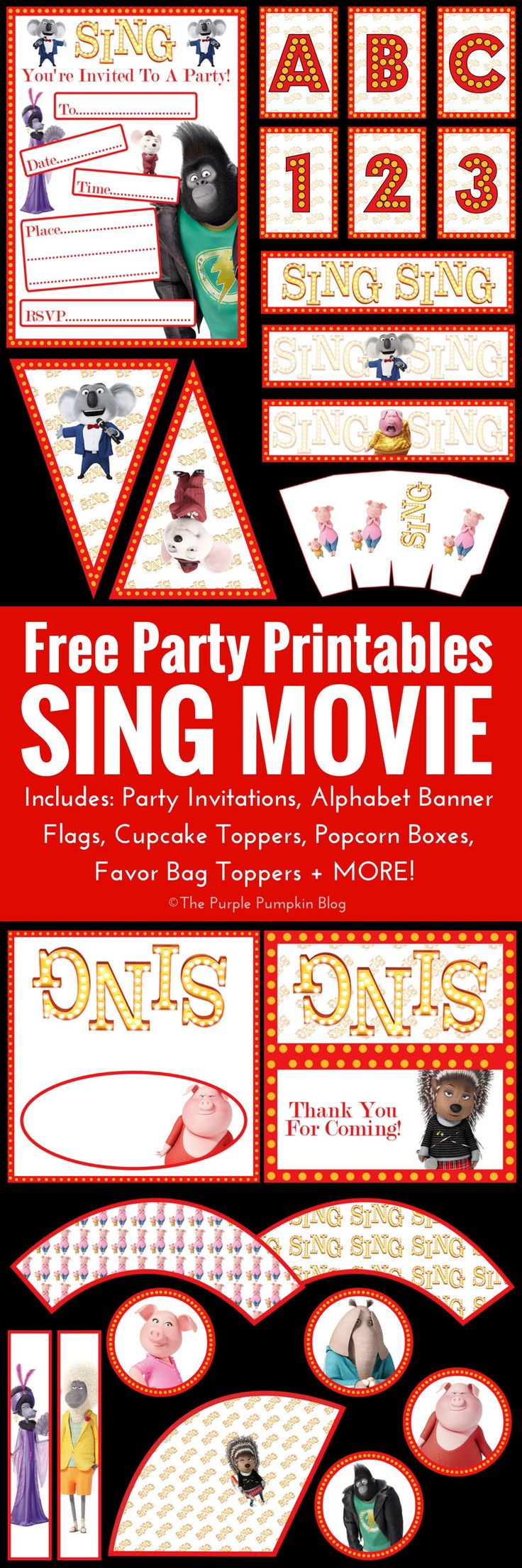 printable horse birthday party invitations free%0A SING Movie Party Printables  Free Printables To Download At Home