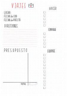 planning de viajes. Imprimibles gratis organización