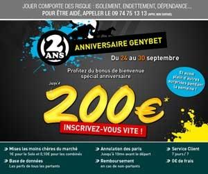GENYbet : Le bonus repasse à 200 euros pendant une semaine. Faire vite si on pense s'inscrire...