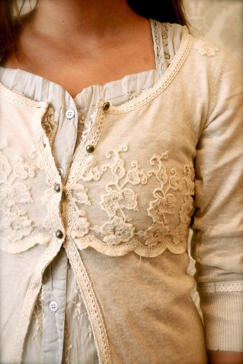 I've seen a few of these. This looks more a part of the sweater because the lace was added without the 'connective tissue'. | Add lace to a sweater!