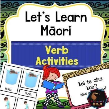 Learn verbs in Maori. An activity for NZ classes.This pack features 20 verbs/kupu mahiSuitable for immersion or mainstream classesIncluded are- Teacher notes- Word list / Glossary- 3 part cards which introduce verbs- Sentences to use with verbs- 11 Worksheetsclick here for my maori prepositions resourceclick here for all of  my Maori resourcesYou can get this as part of my money saving NZ Bundle**************************************************************************WANT TO SHARE THIS…