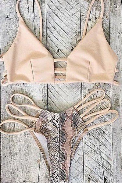 Printed Hollow Out Spaghetti Straps Bikini Set