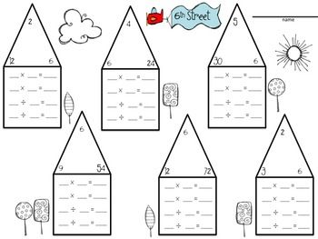Fact Family Neighborhood- a great way to review the relationship between multiplication and division using the commutative property Fact Family Neighborhood