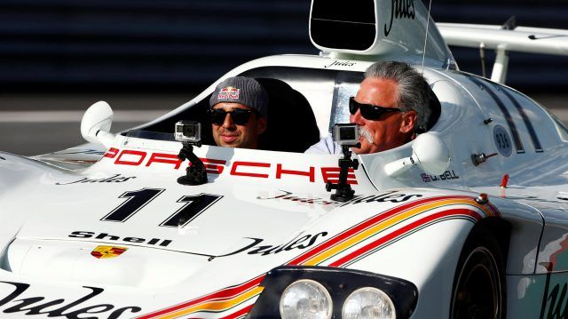 Neel Jani (SUI) and Chase Carey (USA) Chief Executive Officer and Executive Chairman of the Formula One Group Porsche 936 at the Legends Parade at Formula One World Championship, Rd9, Austrian Grand Prix, Qualifying, Spielberg, Austria, Saturday 8 July 2017. © Sutton Images