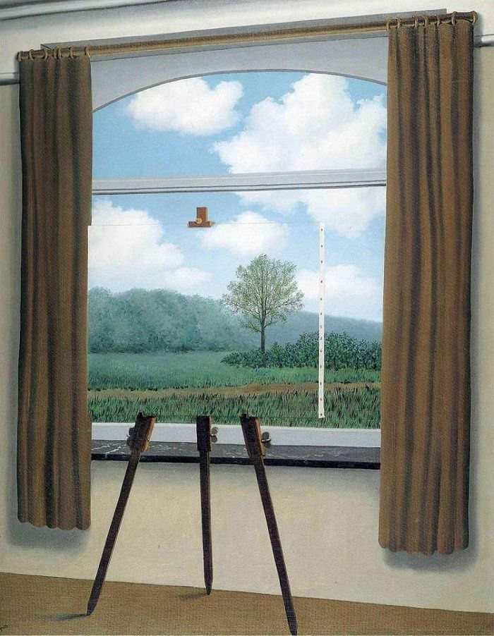 The Human Condition, 1933 by Rene Magritte - In this instance, the artist uses space by fading the colors into tints.  The farthest parts of the scenery are less concentrated in color.