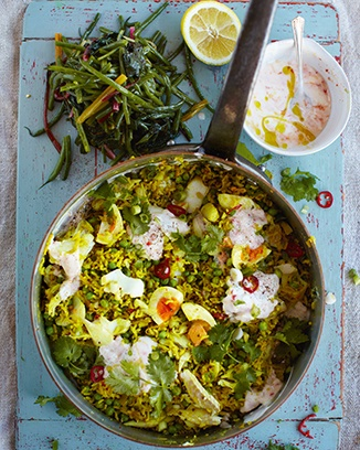 killer kedgeree, beans, greens & chilli yoghurt