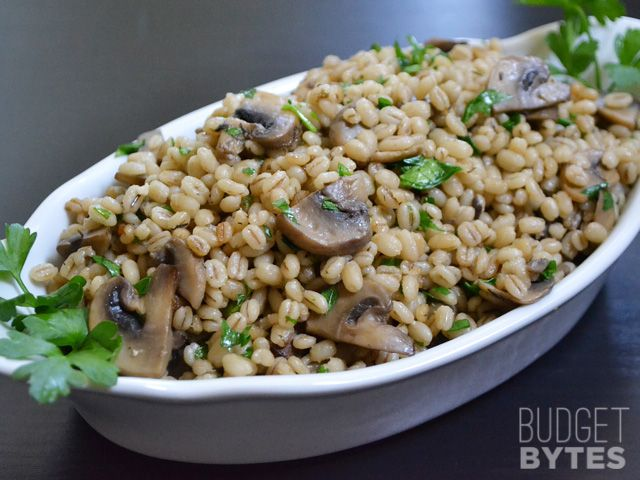 Baked Barley with Mushrooms - Try adding peas and mint for boatshed recreation?