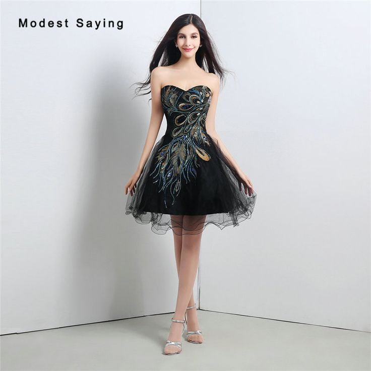 Find More Cocktail Dresses Information about Sexy Black Ball Gown Peacock Embroidery Beaded Cocktail Dresses 2017 with Lace Up Back Short Party Prom Gown vestidos de coctel,High Quality beaded cocktail dresses,China cocktail dresses Suppliers, Cheap vestidos de coctel from modest saying Lacebridal Store on Aliexpress.com