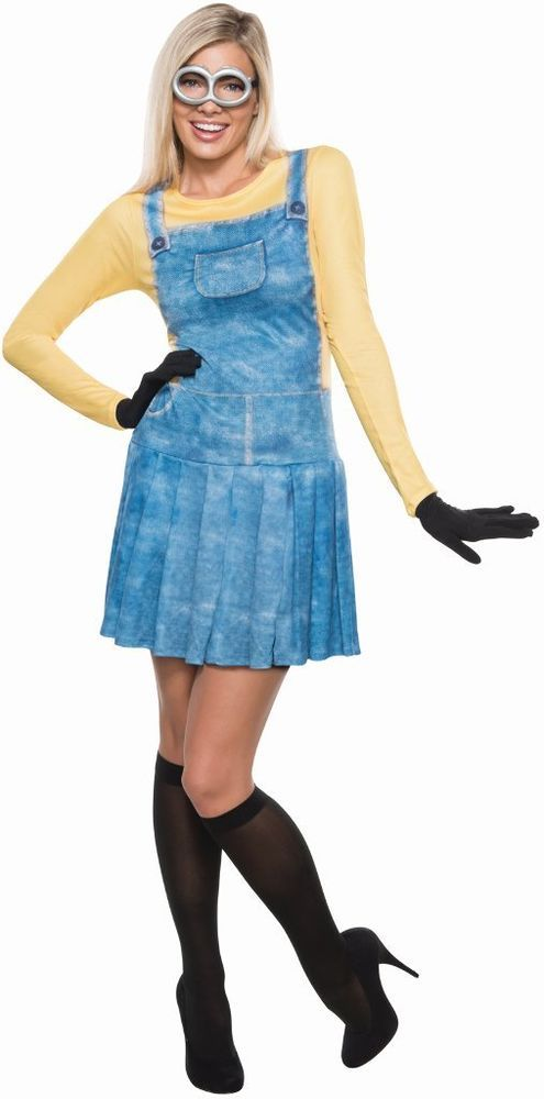 MINIONS FEMALE MINION Womens COSTUME ADULT S SMALL Goggles Dress Despicable Me #Rubies #Dress