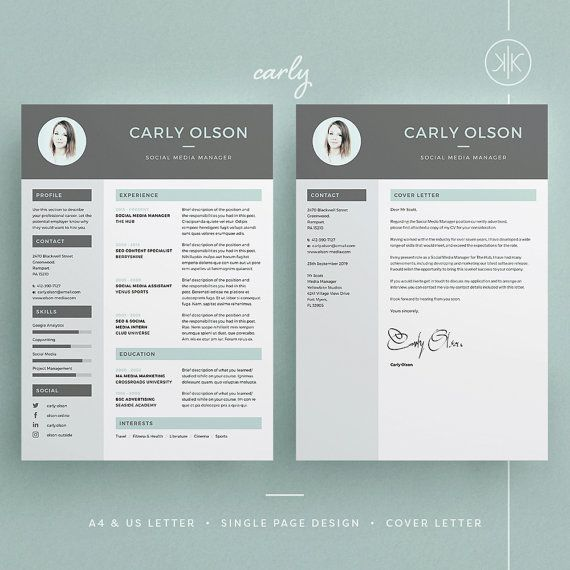 Carly Resume/CV Template | Word | Photoshop | InDesign | Professional Resume Design | Cover Letter | Instant Download