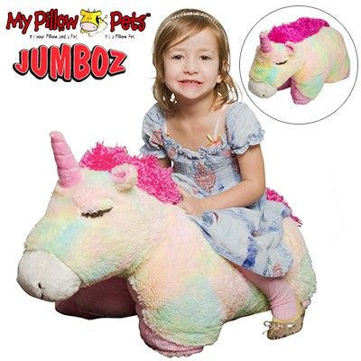 Pillow Pets Jumboz - Plush Toy and Pillow in One - Soft and Comfy Jumbo Size Stuffed Toy That Folds Out into a Huggable Pillow - Rainbow Unicorn - Suitable For Ages 3 and Up