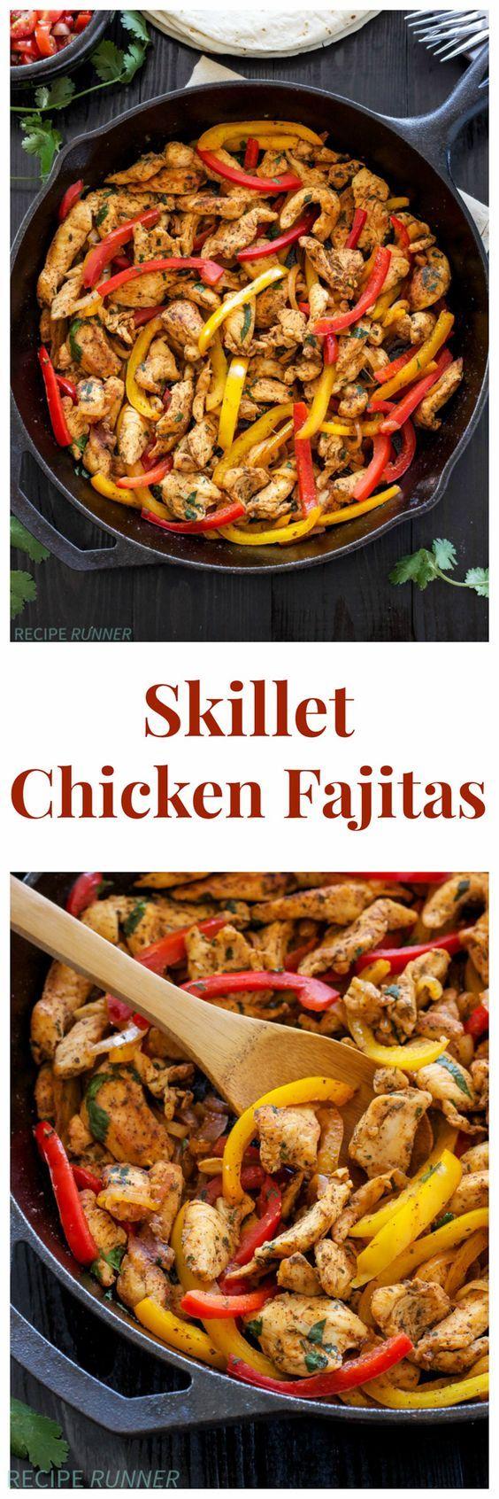 Skillet Chicken Fajitas | Quick, easy, gluten free, & paleo skillet chicken fajitas are perfect for busy nights!