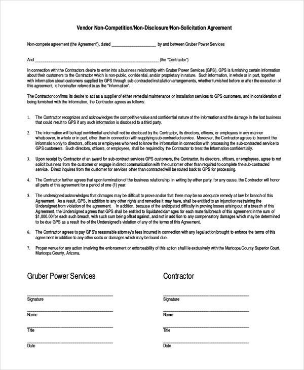 Contractor Non Compete Agreement Template Vendor Non Compete